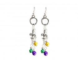 Mardi Gras Pearl Chain Hook Earrings