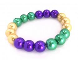 Mardi Gras Pearl Bead Stretch Bracelet