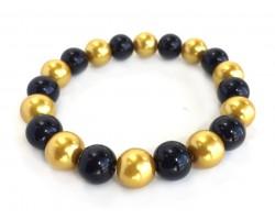 Black Gold Pearl Bead Mix Stretch Bracelet
