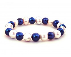 Blue White Pearl Bead Mix Stretch Bracelet