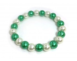 Green White Pearl Bead Mix Stretch Bracelet