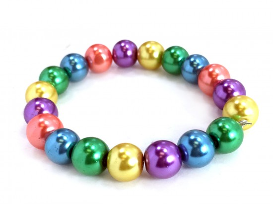 Light Multi Pearl Bead Mix Stretch Bracelet