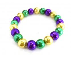 Mardi Gras Pearl Bead Mix Stretch Bracelet