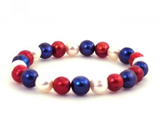 Red White Blue Pearl Bead Stretch Bracelet