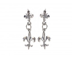Silver Fleur De Lis Dangle Post Earrings