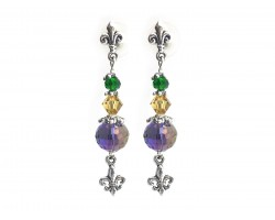 Mardi Gras Crystal Fleur De Lis Post Earrings