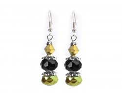 Black Gold Crystal Dangle Hook Earring