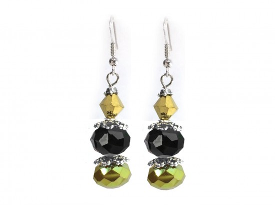 Black Gold Crystal Dangle Hook Earring