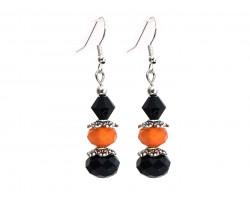 Orange Black Crystal Dangle Hook Earring
