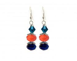 Orange Blue Crystal Dangle Hook Earring