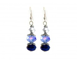 Blue Silver Crystal Dangle Hook Earring