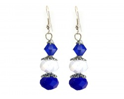 Blue White Crystal Dangle Hook Earring