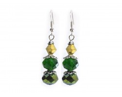Green Gold Crystal Dangle Hook Earring