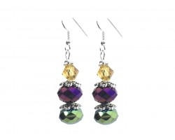 Mardi Gras Crystal Dangle Hook Earring