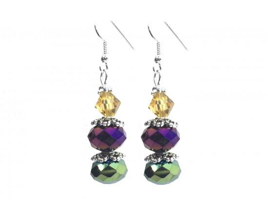 Mardi Gras Crystal Dangle Hook Earring