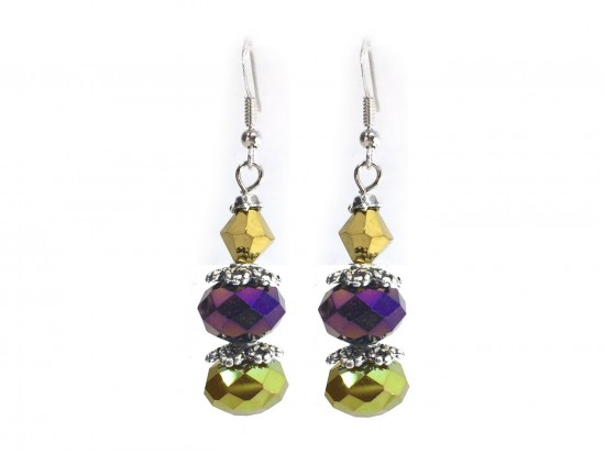 Purple Gold Crystal Dangle Hook Earring