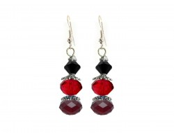 Red Black Crystal Dangle Hook Earring