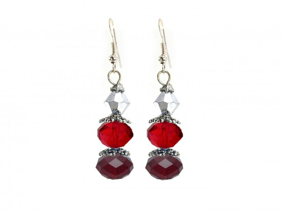 Red Silver Crystal Dangle Hook Earring