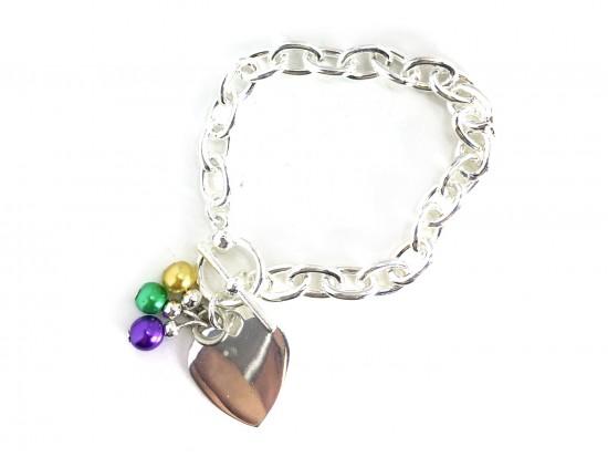 Mardi Gras Silver Heart Chain Bracelet