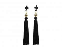 Black Gold Crystal Fleur De Lis Tassel Post Earrings