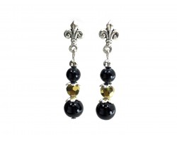 Black Gold Pearl Crystal Fleur De Lis Post Earrings