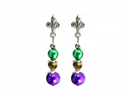 Mardi Gras Pearl Crystal Fleur De Lis Post Earrings