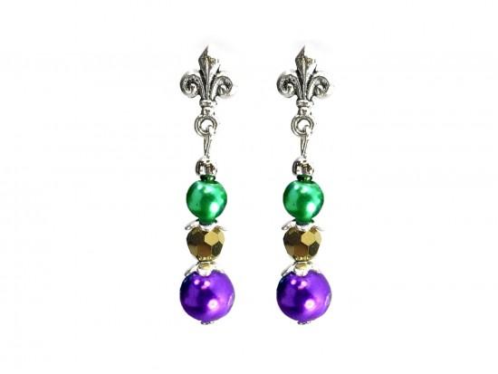 Mardi Gras Pearl Crystal Fleur De Lis Post Earrings
