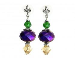 Mardi Gras Crystal Fleur De Lis Post Earrings