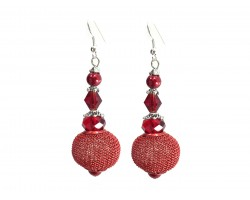 Red Crystal Mesh Wire Bead Hook Earrings