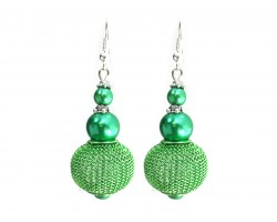 Green Pearl Mesh Wire Bead Hook Earrings