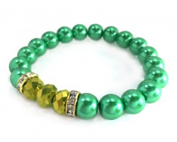 Green Pearl Gold Crystal Stretch Bracelets