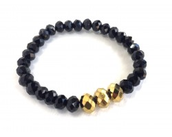 Black Gold 3 Crystal Stretch Bracelets