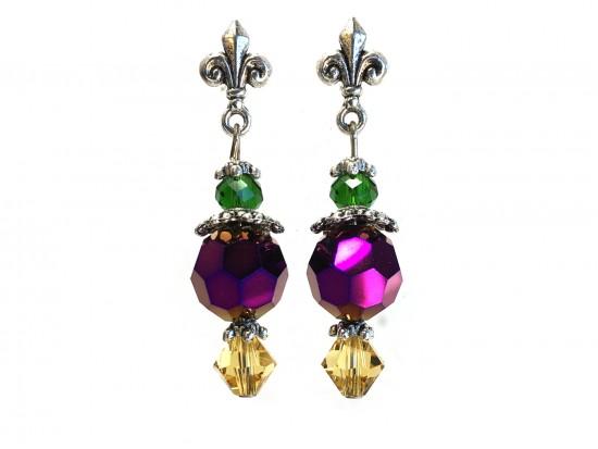 Mardi Gras Round Crystal Fleur De Lis Post Earrings