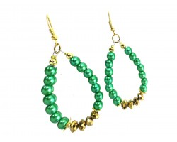 Green Pearl Gold Crystal Teardrop Hook Earrings