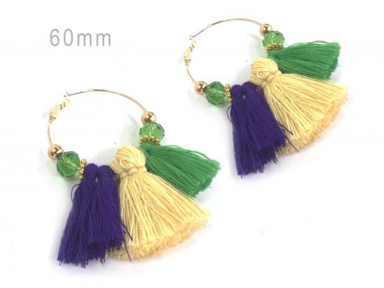 Mardi Gras Tassel Crystal Gold 60mm Hoop Earrings