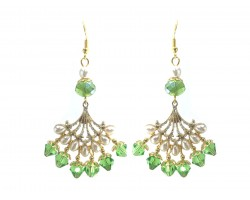 Green Pearl Teardrop Gold Fan Hook Earrings