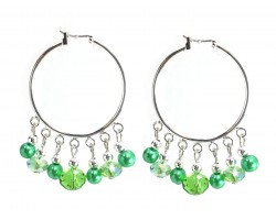 Green Crystal Dangle Charm Hoop Earrings