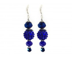 Blue Crystal Ball Hook Earrings