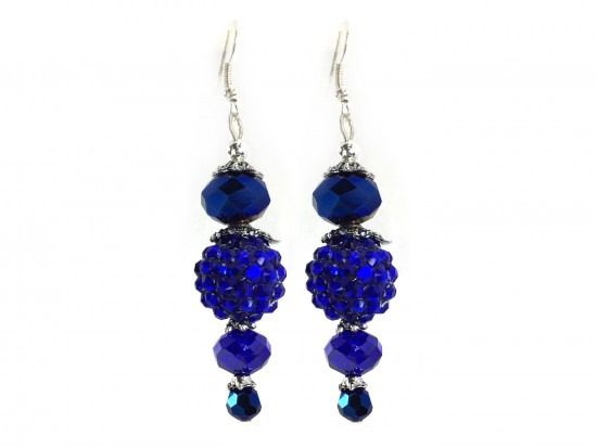 Blue Crystal Ball Hook Earrings