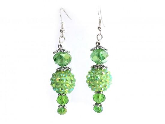 Green Crystal Ball Hook Earrings