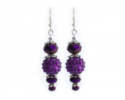 Purple Crystal Ball Hook Earrings