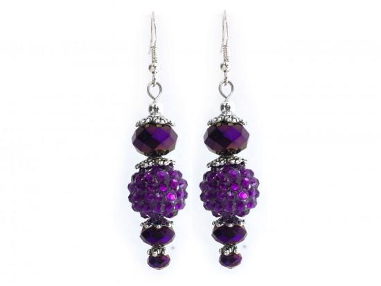 Purple Crystal Ball Hook Earrings