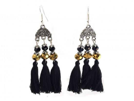Black Gold Chandelier Crystal Tassel Hook Earrings