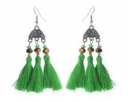 Green Chandelier Crystal Tassel Hook Earrings