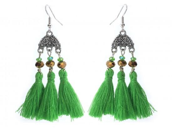 Green Chandelier Crystal Tassel Hook Earrings