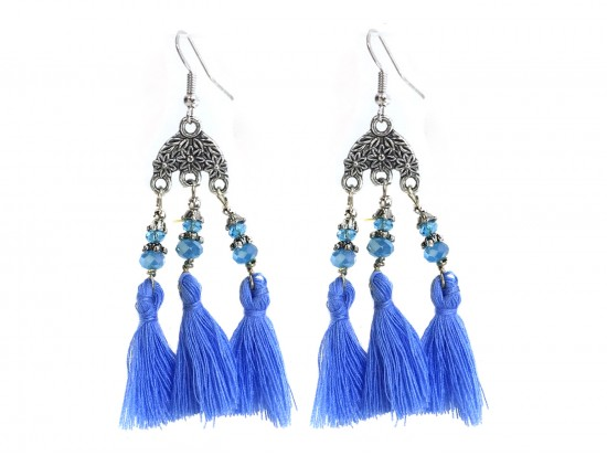 Light Blue Chandelier Crystal Tassel Hook Earrings