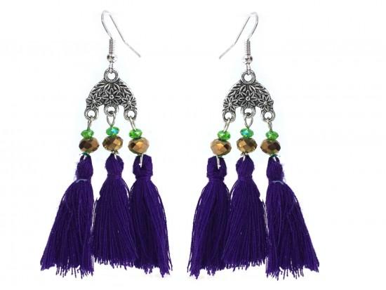 Mardi Gras Chandelier Crystal Tassel Hook Earrings