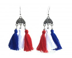 Red White Blue Chandelier Crystal Tassel Hook Earrings