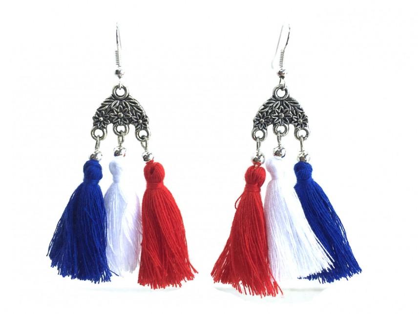 Red White Blue Chandelier Crystal Tel Hook Earrings