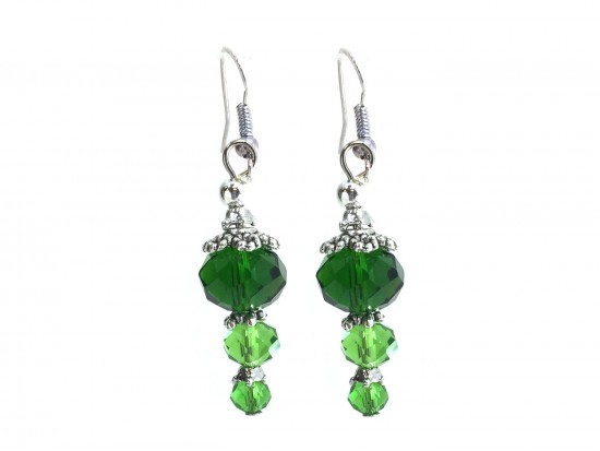 Green Crystal Dangle Hook Earring